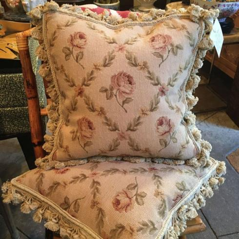 $625.00 Vintage Decorative French Floral Needlepoint Pillow