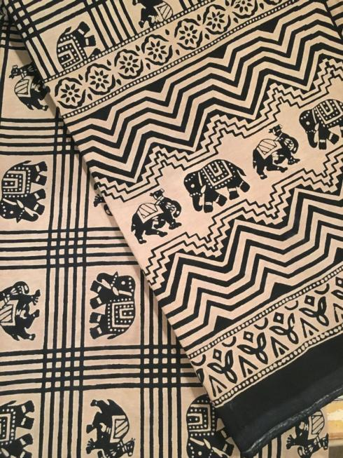 $47.50 Indian Throw/Tablecloth Elephant Black and White