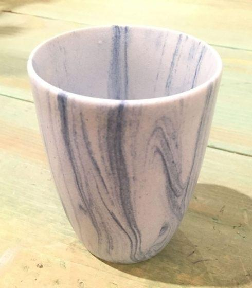 $27.00 Marbleized Light Blue Cup