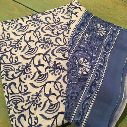 $47.50 Indian Throw/Tablecloth Blue and White Fan Floral