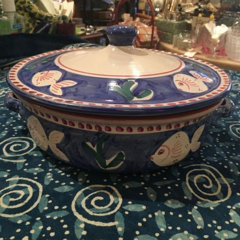 Vintage Hand Painted Blue Fish Casserole