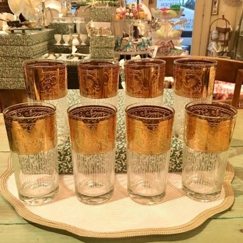 $350.00 Vintage Set of 8 22 Carat Gold Water Glasses