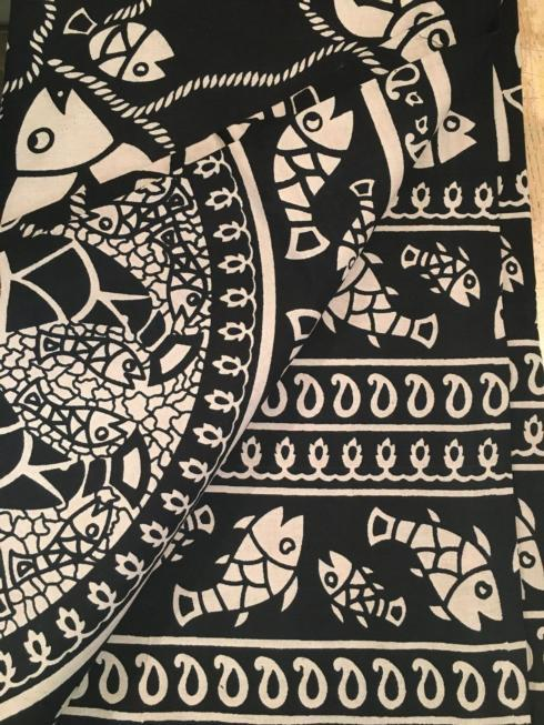 $47.50 Indian Throw/Tablecloth Fish Black and White