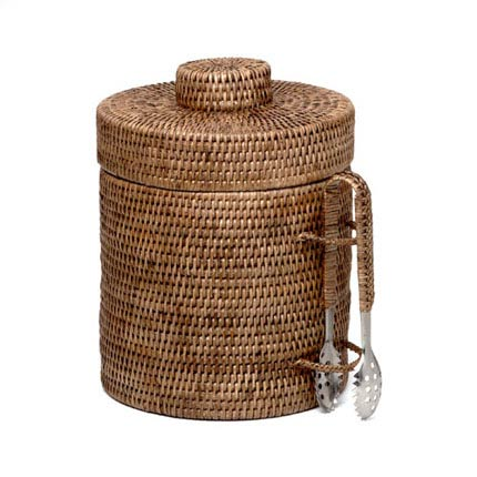 $125.00 Rattan Ice Bucket with Tongs