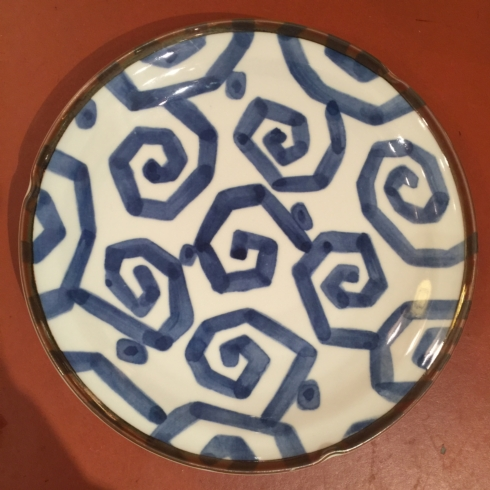 $25.00 Blue and White Geometric Dinner Plate