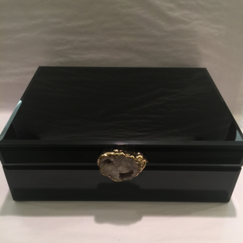 $190.00 Large Black Glass Box