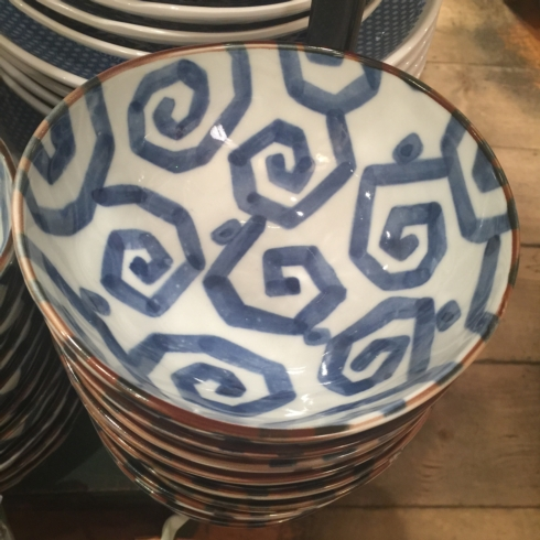 Large Geometric Blue and White Bowl collection with 1 products