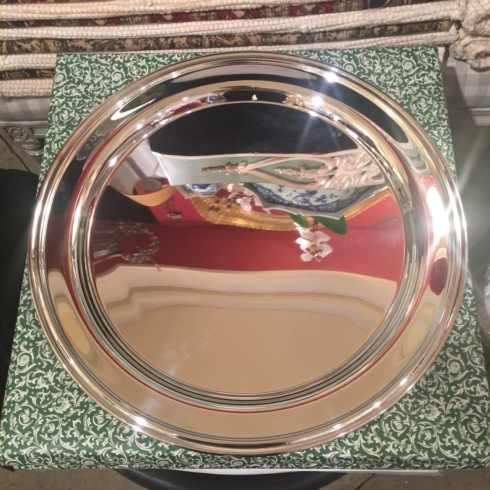 "William-Wayne & Co. Exclusives   17"" Round Silver Tray $85.00"
