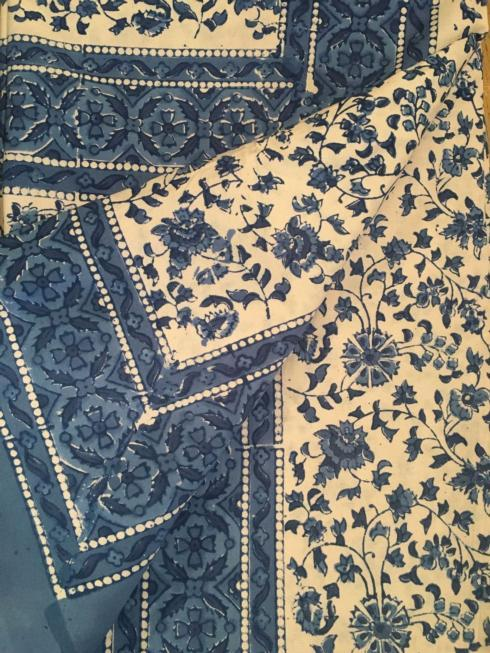 $47.50 Indian Throw/Tablecloth Blue and White Chrysanthemum