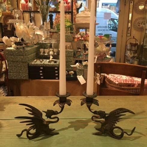 $425.00 Antique Bronze Pair of Phoenix Candle holders