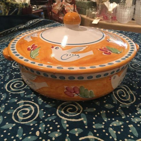 $375.00 Vintage Hand Painted Yellow Casserole