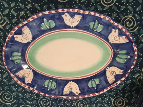 $300.00 Vintage Hand Painted Bird Italian Pottery Platter