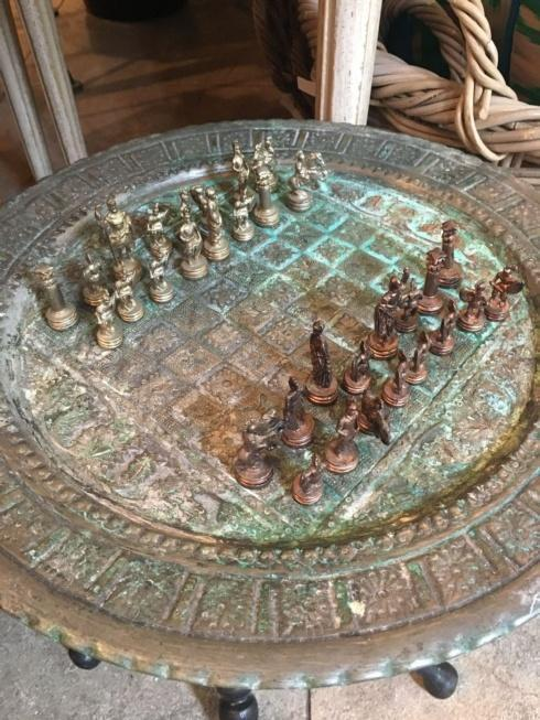 $675.00 Turkish Brass Chess Tray Wooden Folding Base with Chess Set