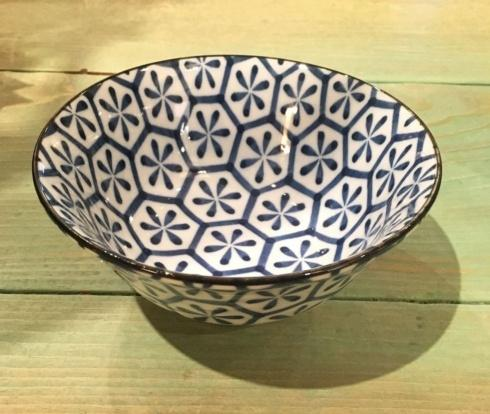 $16.50 Blue and White Japanese Bowl. Hexag/Flower