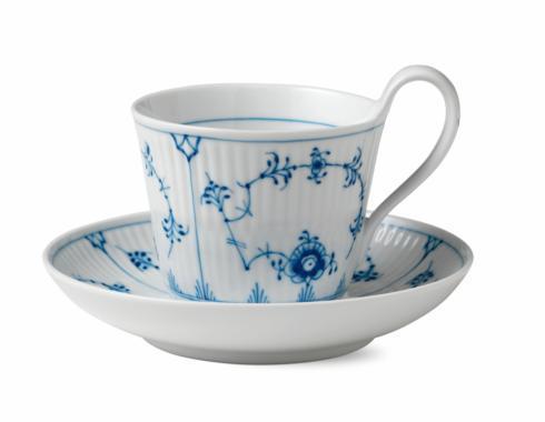 Royal Copenhagen  Blue Fluted Plain High Handle Cup & Saucer $145.00