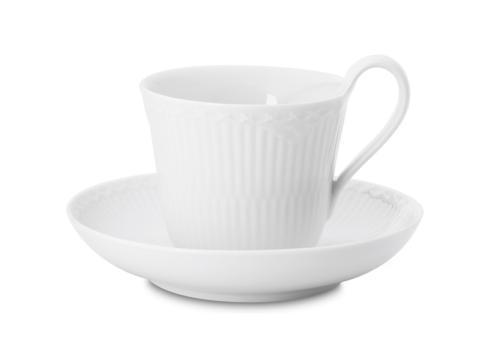 Royal Copenhagen  White Fluted Half Lace High Handle Cup & Saucer $65.00