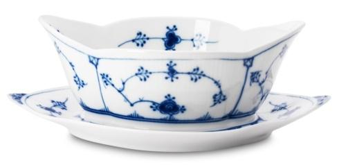Royal Copenhagen  Blue Fluted Plain Gravy Boat with Stand $275.00