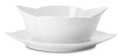 Royal Copenhagen  White Fluted Half Lace Gravy Boat with Stand $150.00