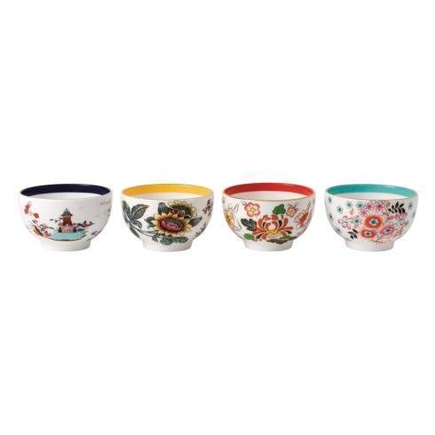 Tea Bowl 3.3 Set/4 (Blue Pagoda, Camellia, Crimson Jewel & Yellow Tonquin)