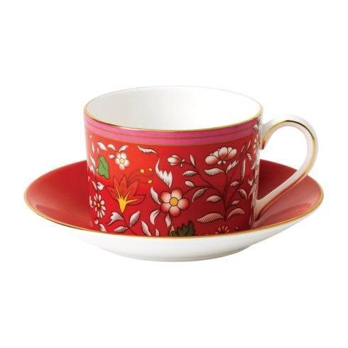 Teacup & Saucer Set Crimson Jewel