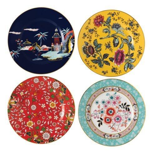 Plate 8 Set/4 (Blue Pagoda, Camellia, Crimson Jewel & Yellow Tonquin)