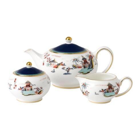 $199.95 3-Piece Teaset S/S (Teapot, Sugar & Creamer) Blue Pagoda