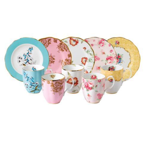 """1950-1990 10-Piece Mug & Plate 8"""" Set"""