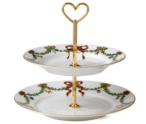 Royal Copenhagen  Star Fluted Christmas 2 Tier Etagere $195.00