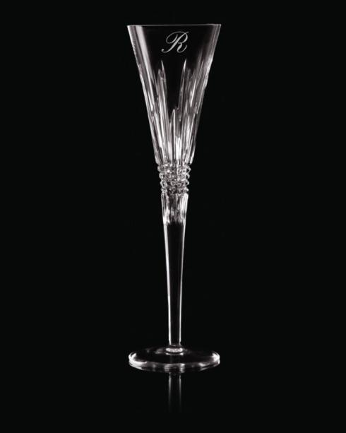"""$160.00 Lismore Diamond Toasting Flute Pair """" L"""" Script"""