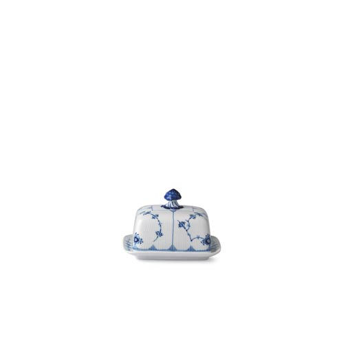 Royal Copenhagen Flutes Body Collections Blue Fluted Plain Butter Dish 14 Oz $170.00