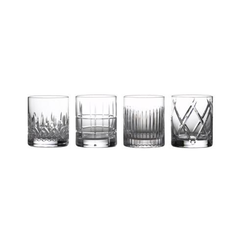 Waterford  Short Stories  Double Old Fashioned 12 oz. Set of 4 Mixed Patterns  $270.00