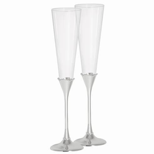 Bead Silver Stem Toasting Flute, Set of 2