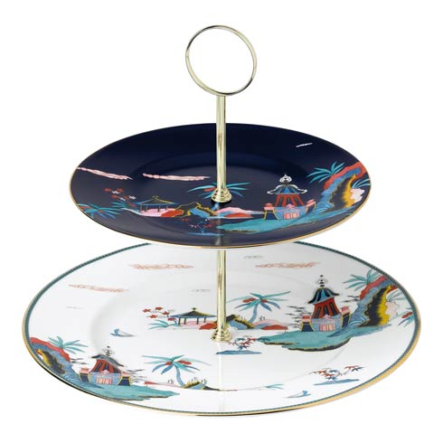 $120.00 Cake Stand Two - Tier Blue Pagoda