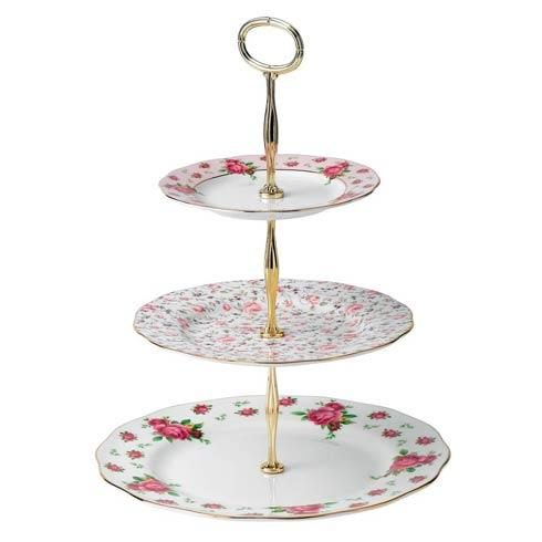 Royal Albert  New Country Roses White Vintage Cake Stand Three-Tier (Ncr White, Rose Confetti, Ncr Pink) $85.00
