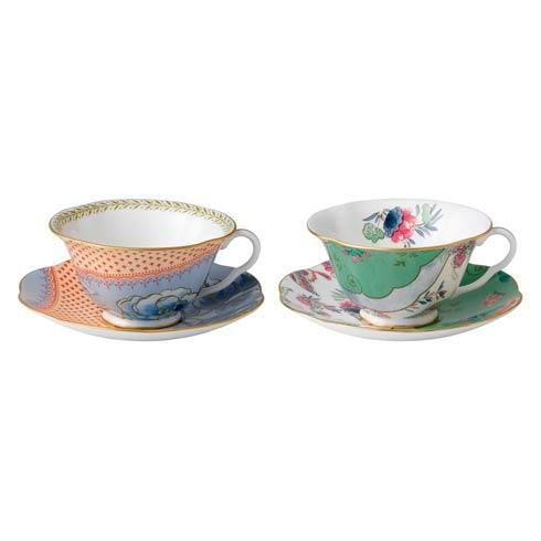 $112.50 Teacup & Saucer Set/2 Blue Peony & Butterfly Posy