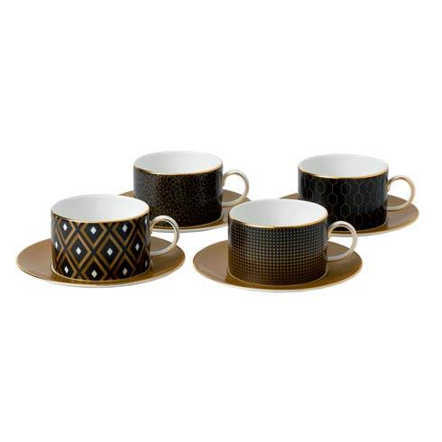 Accent Teacup & Saucer Set/4