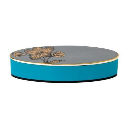 "$120.00 Box Lidded Oval 8.3"" Turquoise"