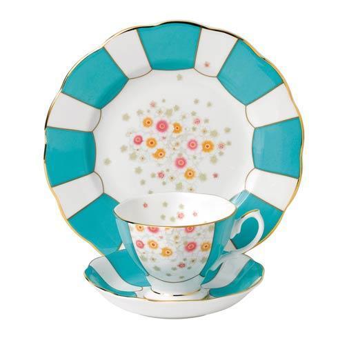 "$60.00 1930 3-Piece Teacup, Saucer & Plate 8"" Set Mint Deco"