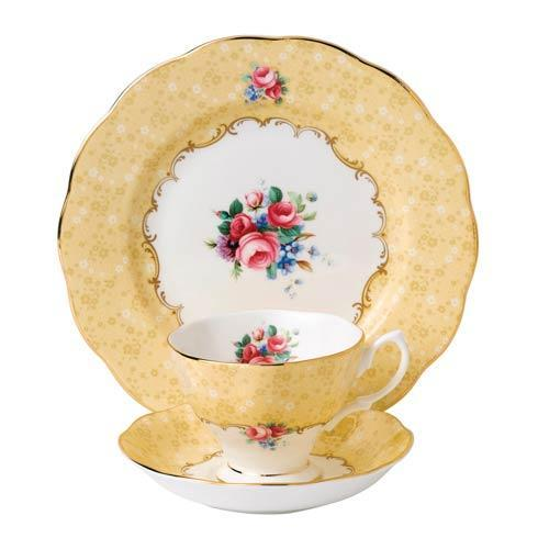 "$69.99 1990 3-Piece Teacup, Saucer & Plate 8"" Set Bouquet"