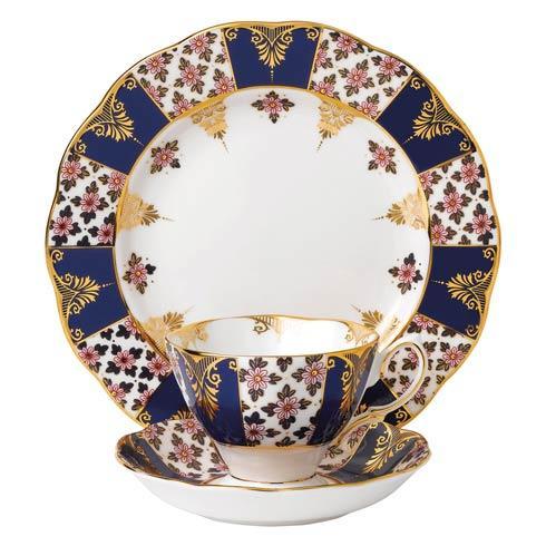"$60.00 1900 3-Piece Teacup, Saucer & Plate 8"" Set Regency Blue"