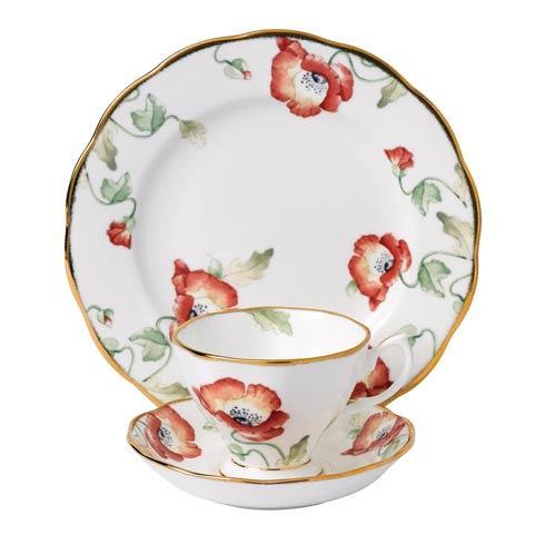 "$60.00 1970 3-Piece Teacup, Saucer & Plate 8"" Set Poppy"