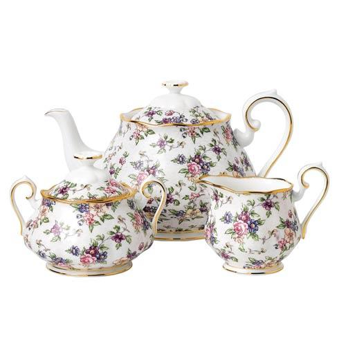 $144.00 1940 3-Piece Teapot, Sugar & Creamer Set English Chintz