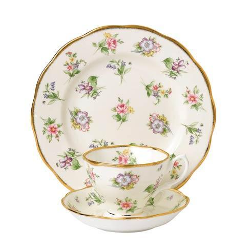 "$60.00 1920 3-Piece Teacup, Saucer & Plate 8"" Set Spring Meadow"