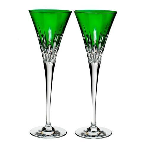 $210.00 Toasting Flute Pair, Emerald