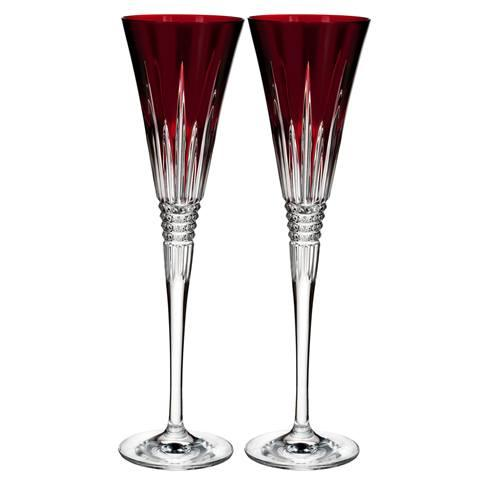 Lismore Diamond Toasting Flute Set of 2 Red image