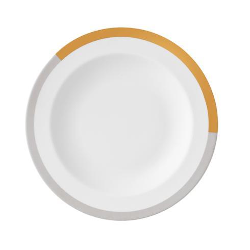 """$40.00 Vera Castillon Gold/Gray Rim Soup Plate 9"""""""