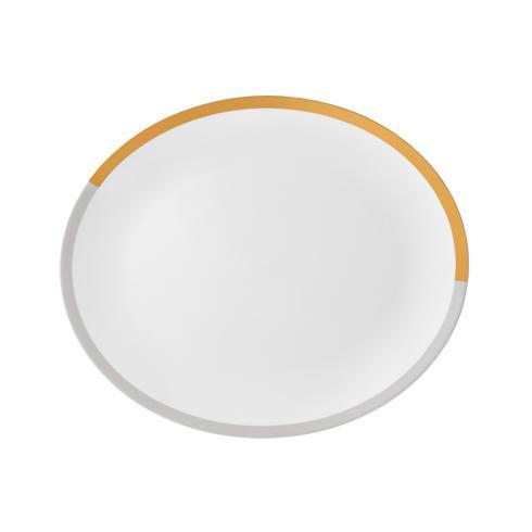 """$195.00 Vera Castillon Gold/Gray Oval Platter 13.75"""""""