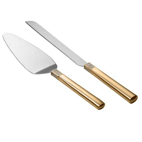 Lismore Diamond Cake Knife & Server Gold