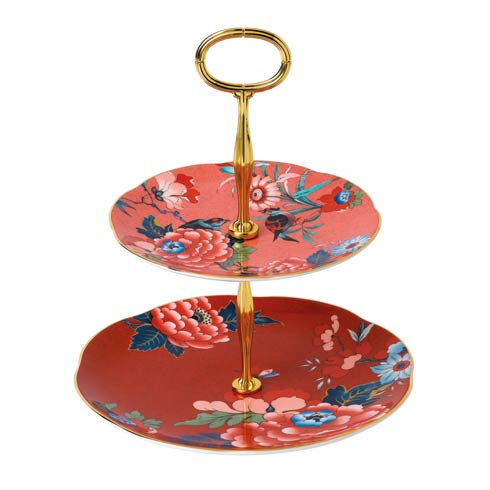 $155.00 Cake Stand Two-Tier (Coral & Red)