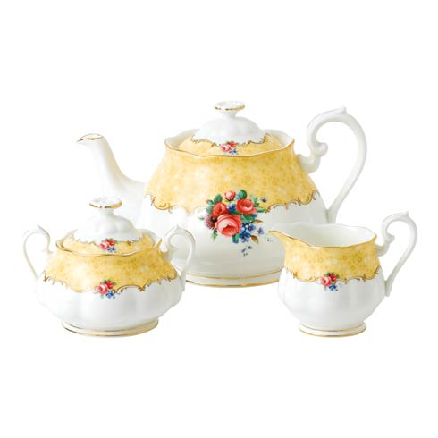 $180.00 1990 3-Piece Set (Teapot, Sugar & Creamer) Bouquet
